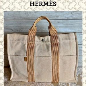 Hermes tote bag fourre tout canvas beige orange